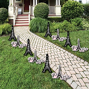Paris, Ooh La La - Eiffel Tower Lawn Decorations - Outdoor Paris Themed Party Yard Decorations - 10 Piece