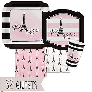 Paris, Ooh La La - Bridal Shower Tableware Plates, Cups and Napkins - Bundle of 32