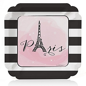 Paris, Ooh La La - Birthday Party Dinner Plates - 8 ct