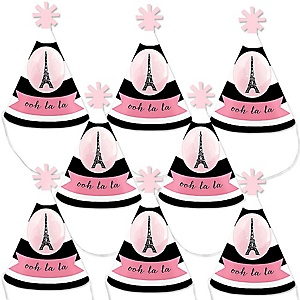 Paris, Ooh La La - Personalized Paris Themed Mini Cone Birthday Party Hats - Small Little Party Hats - Set of 8
