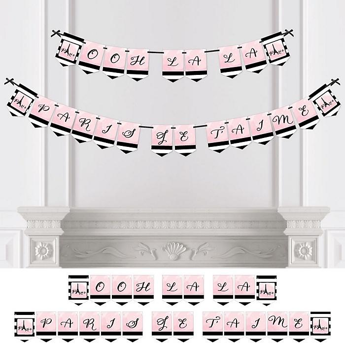 Paris, Ooh La La - Paris Themed Baby Shower or Birthday Party Bunting Banner - Party Decorations - Ooh La La Paris je T'aime