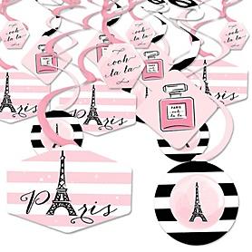 Paris, Ooh La La - Paris Themed Baby Shower or Birthday Party Hanging Decor - Party Decoration Swirls - Set of 40