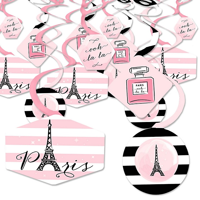 Paris, Ooh La La - Paris Themed Baby Shower or Birthday Party Hanging Decor - Party Decoration Swirls - Set of 40