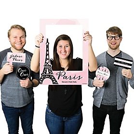 Paris, Ooh La La - Personalized Paris Themed Party Selfie Photo Booth Picture Frame & Props - Printed on Sturdy Material