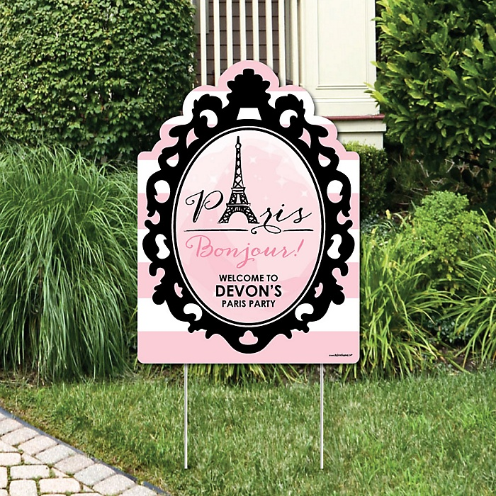 Paris, Ooh La La - Party Decorations - Paris Themed Birthday Party or Baby Shower Personalized Welcome Yard Sign