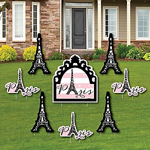 Paris, Ooh La La - Yard Sign & Outdoor Lawn Decorations - Paris Themed Baby Shower or Birthday Party Yard Signs - Set of 8
