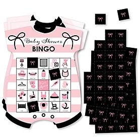 Paris, Ooh La La - Picture Bingo Cards and Markers - Paris Themed Baby Shower Shaped Bingo Game - Set of 18