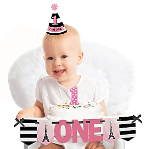 Paris, Ooh La La - 1st Birthday Girl Smash Cake Decorating Kit - Paris Themed High Chair Decorations