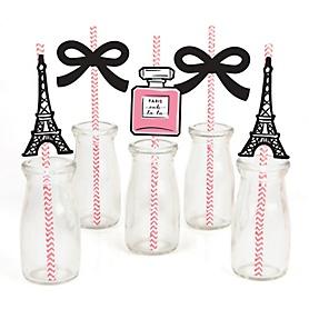 Paris, Ooh La La - Paper Straw Decor - Baby Shower or Birthday Party Striped Decorative Straws - Set of 24