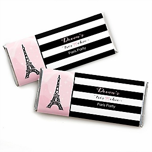 Paris, Ooh La La - Personalized Candy Bar Wrapper Paris Themed Baby Shower or Birthday Party Favors - Set of 24