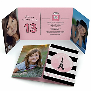 Paris, Ooh La La - Personalized Paris Themed Birthday Party Photo Invitations - Set of 12