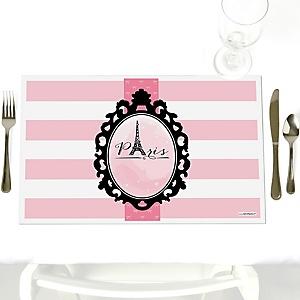 Paris, Ooh La La - Party Table Decorations - Paris Themed Party Placemats - Set of 12