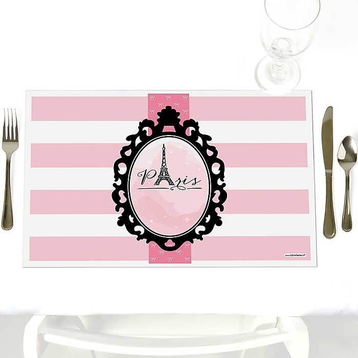 Paris, Ooh La La - Party Table Decorations - Paris Themed Party Placemats - Set of 12