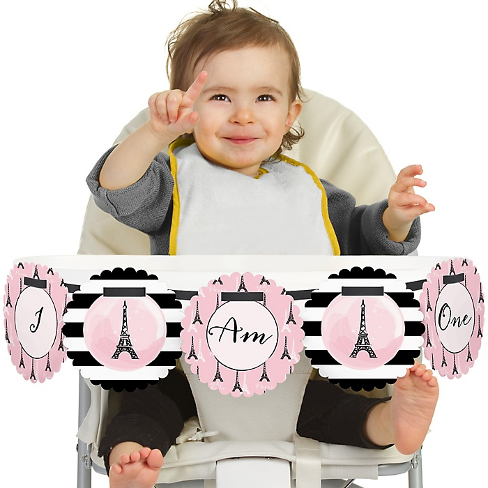 Paris, Ooh La La - Paris Themed 1st Birthday - I am One - First Birthday High Chair Banner