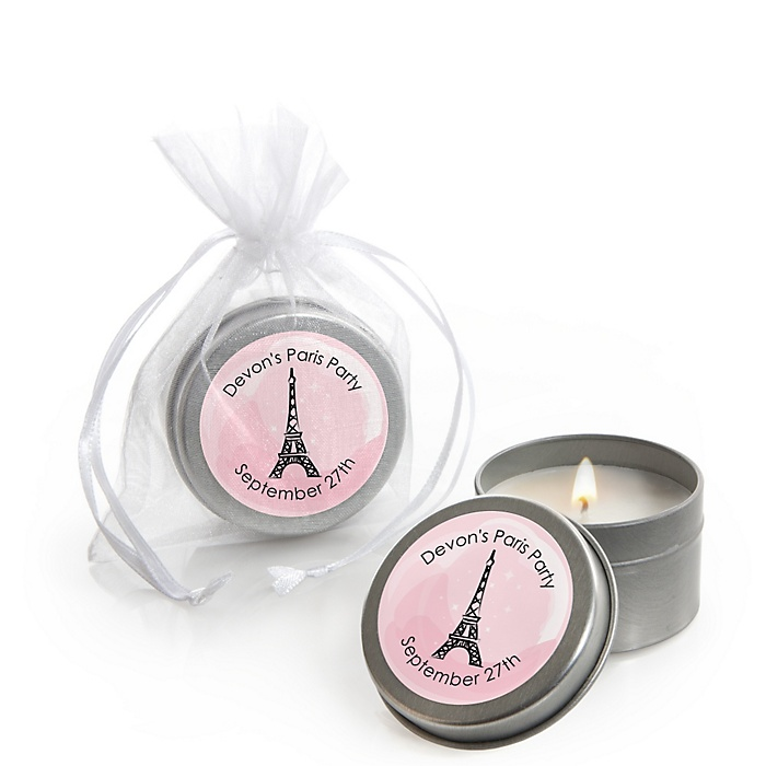 Paris, Ooh La La - Personalized Paris Themed Party Candle Tin Favors - Set of 12