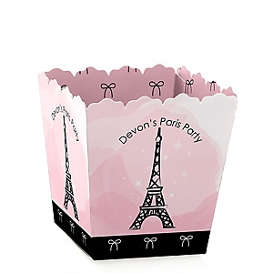 Paris, Ooh La La - Party Mini Favor Boxes - Personalized Paris Themed Party Treat Candy Boxes - Set of 12