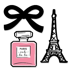 Paris, Ooh La La - Shaped Paris Themed Party Paper Cut-Outs - 24 ct