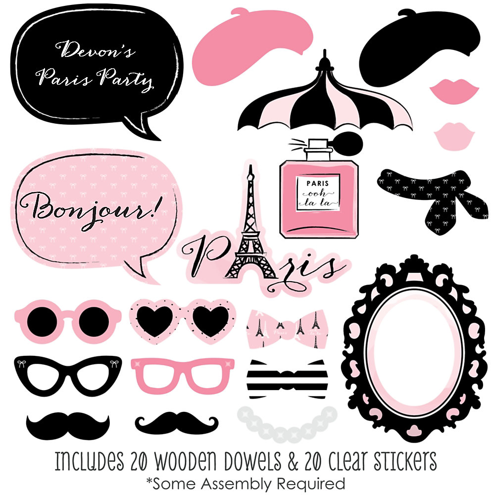 Paris, Ooh La La - 20 Piece Paris Themed Party Photo Booth Props Kit