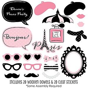 Paris Ooh La La 20 Piece Paris Themed Party Photo Booth Props Kit