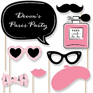 Paris, Ooh La La - Paris Themed - Baby Shower Photo Booth Props Kit - 20 Props