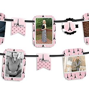 Paris, Ooh La La - Paris Themed Baby Shower Photo Garland Banners
