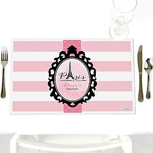 Paris, Ooh La La - Party Table Decorations - Personalized Paris Themed Party Placemats - Set of 12