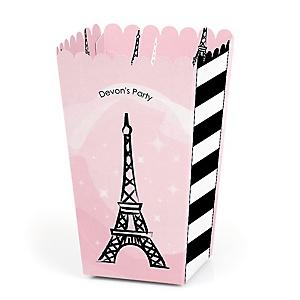 Paris, Ooh La La - Personalized Paris Themed Party Popcorn Favor Treat Boxes - Set of 12