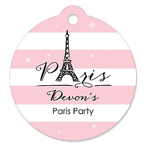 Paris, Ooh La La - Round Personalized Paris Themed Party Tags - 20 ct