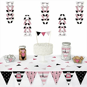 Paris, Ooh La La -  Triangle Paris Themed Party Decoration Kit - 72 Piece