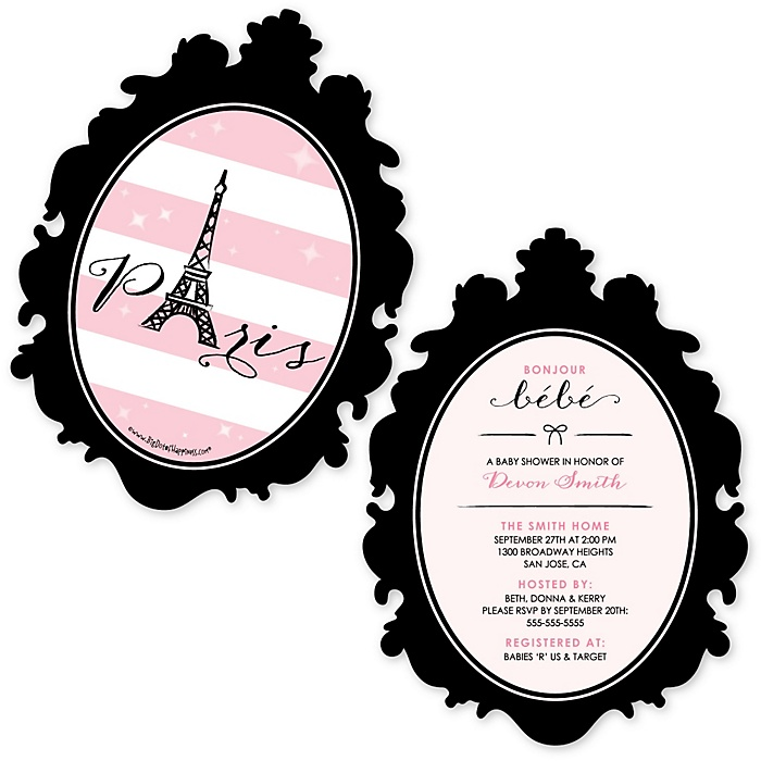 Paris, Ooh La La - Shaped Paris Themed Baby Shower Invitations - Set of 12