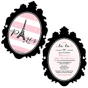 Paris, Ooh La La - Shaped Paris Themed Birthday Party Invitations - Set of 12