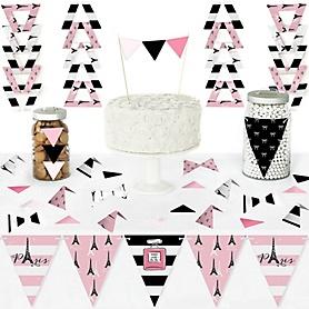 Paris, Ooh La La - DIY Pennant Banner Decorations - Paris Themed Baby Shower or Birthday Party Triangle Kit - 99 Pieces