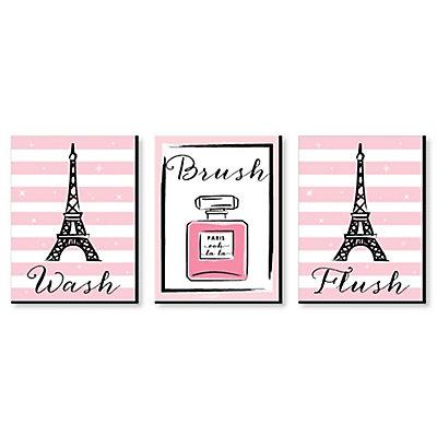 Paris Ooh La Kids Bathroom Rules Wall Art 7 5 X 10 Set Of 3 Signs Wash Brush Flush Dotofhiness