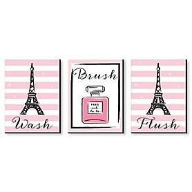 Paris, Ooh La La - Kids Bathroom Rules Wall Art - 7.5 x 10 inches - Set of 3 Signs - Wash, Brush, Flush