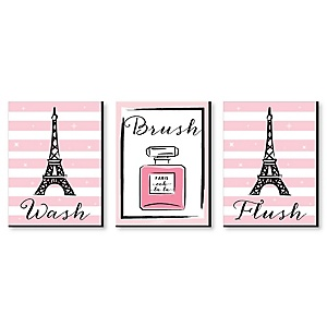 Paris, Ooh La La - Kids Bathroom Rules Wall Art - 7.5 x 10 inches - Set of 3 Signs - Wash, Brush, Flush
