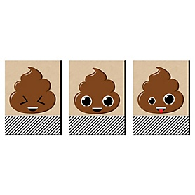 Party 'Til You're Pooped - Poop Emoji Wall Art and Kids Room Decor - 7.5 x 10 inches - Set of 3 Prints