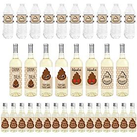 Party 'Til You're Pooped - Mini Wine Bottle Labels, Wine Bottle Labels and Water Bottle Labels - Poop Emoji Party Decorations - Beverage Bar Kit - 34 Pieces