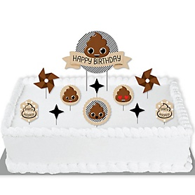 Party 'Til You're Pooped - Poop Emoji Birthday Party Cake Decorating Kit - Happy Birthday Cake Topper Set - 11 Pieces
