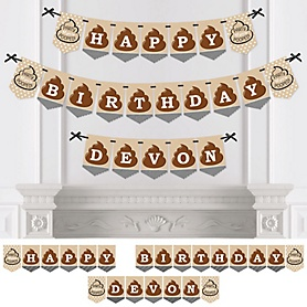 Party 'Til You're Pooped - Personalized Poop Emoji Birthday Party Bunting Banner & Decorations