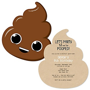 Party 'Til You're Pooped - Shaped Poop Emoji Birthday Party Invitations - Set of 12
