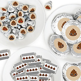 Party 'Til You're Pooped - Mini Candy Bar Wrappers, Round Candy Stickers and Circle Stickers - Poop Emoji Party Candy Favor Sticker Kit - 304 Pieces