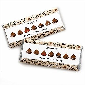 Party 'Til You're Pooped - Personalized Candy Bar Wrappers Poop Emoji Party Favors - Set of 24