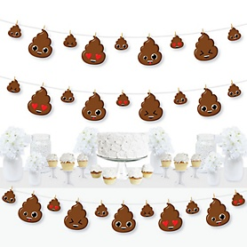 Party 'Til You're Pooped - Poop Emoji Party DIY Decorations - Clothespin Garland Banner - 44 Pieces