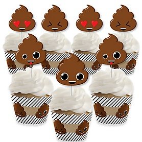 Party 'Til You're Pooped - Cupcake Decoration - Poop Emoji Party Cupcake Wrappers and Treat Picks Kit - Set of 24