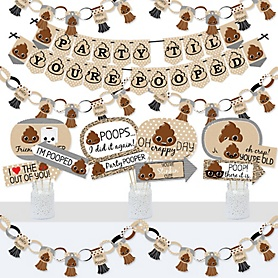 Party 'Til You're Pooped - Banner and Photo Booth Decorations - Poop Emoji Party Supplies Kit - Doterrific Bundle