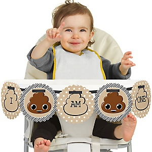 Party 'Til You're Pooped 1st Birthday - I am One - First Poop Emoji Birthday High Chair Banner
