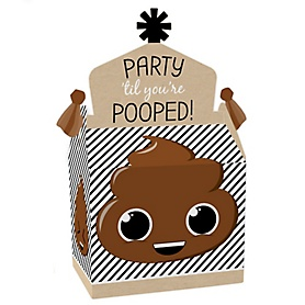Party 'Til You're Pooped - Treat Box Party Favors - Poop Emoji Party Goodie Gable Boxes - Set of 12