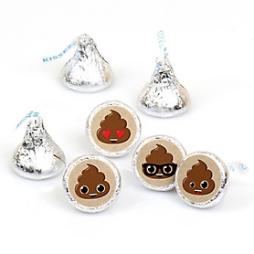 Party 'Til You're Pooped - Round Candy Labels Poop Emoji Party Favors - Fits Hershey's Kisses - 108 ct