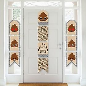 Party 'Til You're Pooped - Hanging Vertical Paper Door Banners - Poop Emoji Party Wall Decoration Kit - Indoor Door Decor