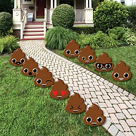Party 'Til You're Pooped - Poop Lawn Decorations - Outdoor Poop Emoji Party Yard Decorations - 10 Piece